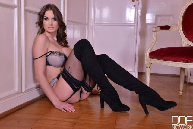 Marie Clarence XXXBios - Hot busty tall French pornstar Marie Clarence in sexy grey and black lace lingerie stockings and suspenders with white silk robe shirt and black thigh high boots - DDF Network Legal Porno Marie Clarence porn pics sfw