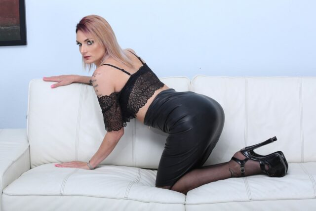 Marie Clarence XXXBios - Hot busty tall French pornstar Marie Clarence in sexy black leather skirt, black sheer top, black stockings and black high heels - Legal Porno Marie Clarence porn pics sfw