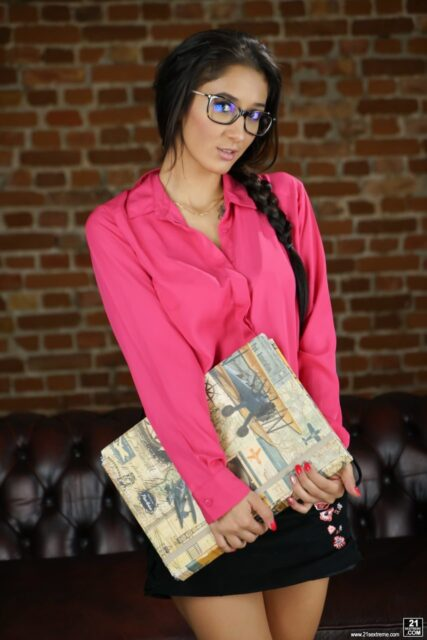 Darcia Lee XXXBios - Hot petite busty all natural Hungarian teen pornstar Darcia Lee in sexy black glasses, hot pink blouse and tight black skirt - 21 Sextury Darcia Lee porn pics sfw