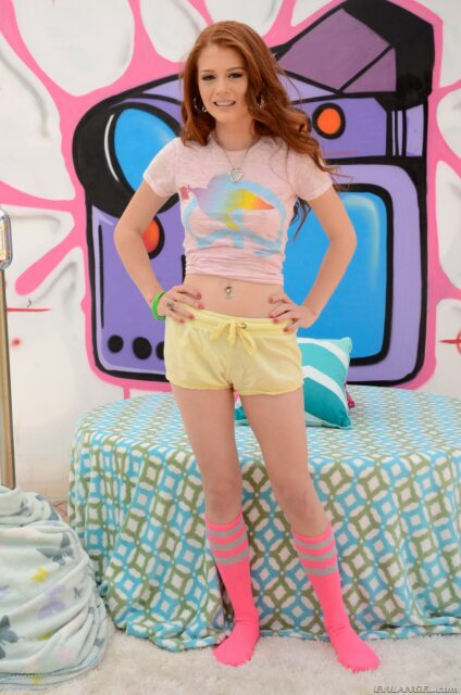 Alice Green XXXBios - Hot all natural petite teen redhead pornstar with freckles Alice Green in sexy pink tshirt and yellow booty shorts with pink socks - Anal Sweetness 2 Evil Angel Alice Green porn pics sfw