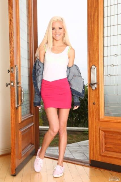 Halle Von XXXBios - Petite all natural blonde teen pornstar Halle Von in sexy blue denim jacket, white vest top, pink skirt and high heels - Only Teen Blowjobs Halle Von porn pics sfw
