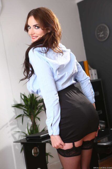 Marie Clarence XXXBios - Hot busty tall French pornstar Marie Clarence in sexy black lacy bra and panties lingerie stockings and suspenders with blue shirt, black skirt and black high heels - Brazzers Marie Clarence porn pics sfw