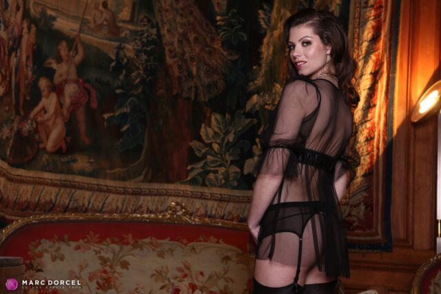 Manon Martin XXXBios - Hot tall brunette all natural French pornstar Manon Martin in sexy sheer black lingerie, black lacy stockings and suspenders - Manon's Perfume Marc Dorcel Vision Manon Martin porn pics sfw