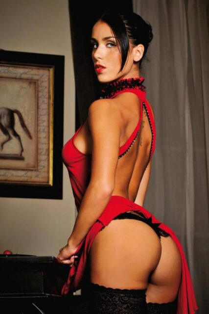 Jade Laroche XXXBios - Hot petite French pornstar Jade Laroche shows off her sexy big tits and big ass bubble butt booty in sexy red and black lace choker, red lingerie, black thong stockings and suspenders - Pornochic 22 Femme Fatales Marc Dorcel Vision Jade Laroche porn pics sfw