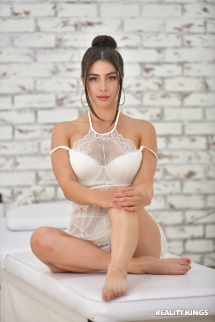 Tru Kait XXXBios - Hot busty brunette Hispanic Latina pornstar shows off her 32D big tits and big ass bubble butt booty in sexy white lacy lingerie with barefeet - King's Spa: Tru Kait Reality Kings Tru Kait porn pics sfw