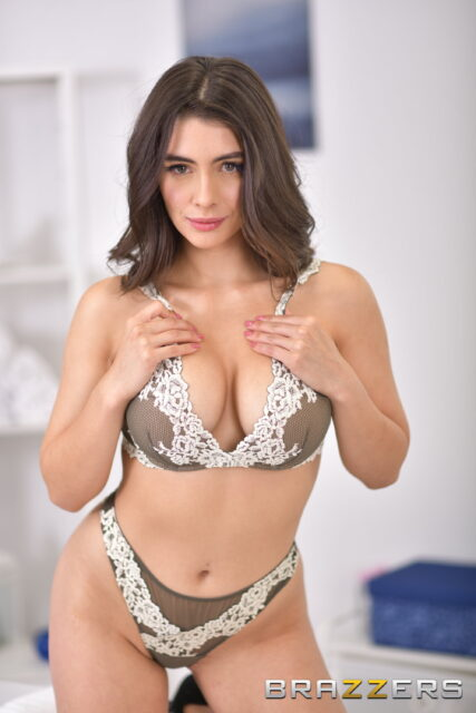 Tru Kait XXXBios - Hot busty brunette Hispanic Latina pornstar shows off her 32D big tits and big ass bubble butt booty in sexy brown and white lacy lingerie - Brazzers Tru Kait porn pics sfw