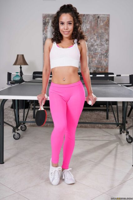 Lana Mars XXXBios - Petite all natural black brunette pornstar Lana Mars in sexy cropped white vest top, pink leggings, pink lingerie and white sneakers - Pussy Pong Brazzers Lana Mars porn pics sfw