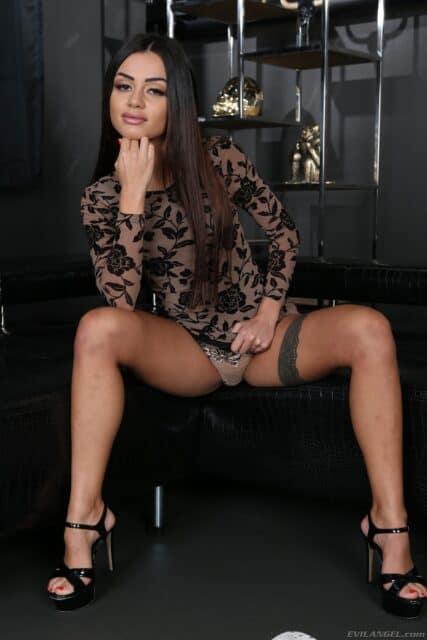 Martina Smeraldi XXXBios - Hot petite all natural brunette Italian pornstar Martina Smeraldi in sexy black lace dress and black high heels and lacy lingerie - Rocco's Game Of Whores Evil Angel Martina Smeraldi porn pics sfw