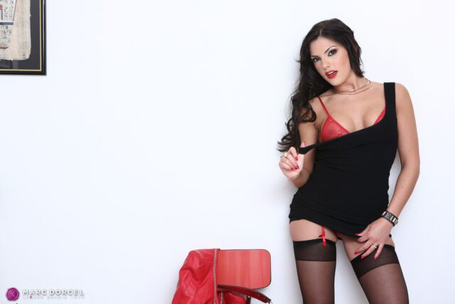 Cecilia De Lys XXXBios - Hot busty French brunette pornstar Cecilia De Lys shows off her 38C big tits and big ass bubble butt booty in sexy red sheer lingerie stockings and suspenders with black dress and red leather jacket - Marc Dorcel Vision Cecilia De Lys porn pics sfw