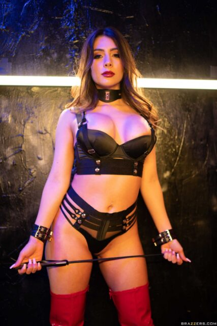 Tru Kait XXXBios - Hot busty brunette Hispanic Latina pornstar shows off her 32D big tits and big ass bubble butt booty in sexy black collar, black cuffs, black bra and panties lingerie with red leather latex PVC thigh high boots - Who Owns Whom Brazzers Tru Kait porn pics sfw