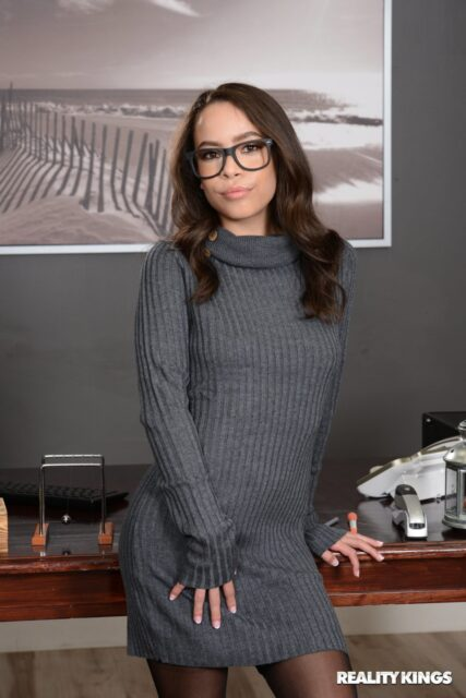 Lana Mars XXXBios - Petite all natural black brunette pornstar Lana Mars in sexy black glasses, grey turtleneck dress with black lacy lingerie stockings and suspenders - Office Princess Reality Kings Lana Mars porn pics sfw