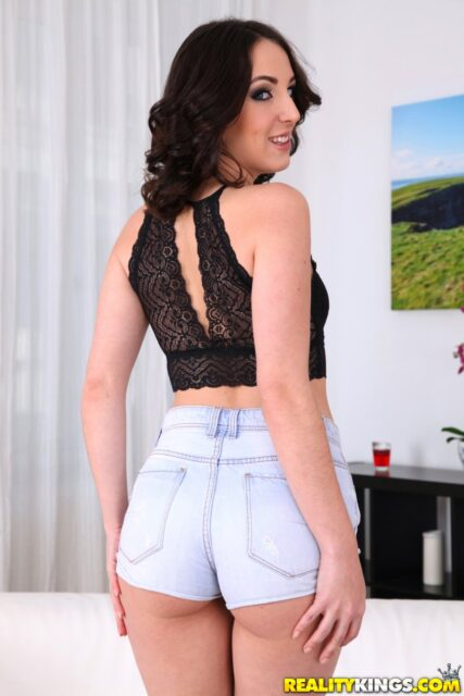 Liz Rainbow XXXBios - Hot blonde all natural tall Spanish pornstar Liz Rainbow in sexy cropped black lacy top, denim booty shorts and black high heels - Annielicious Reality Kings Liz Rainbow porn pics sfw