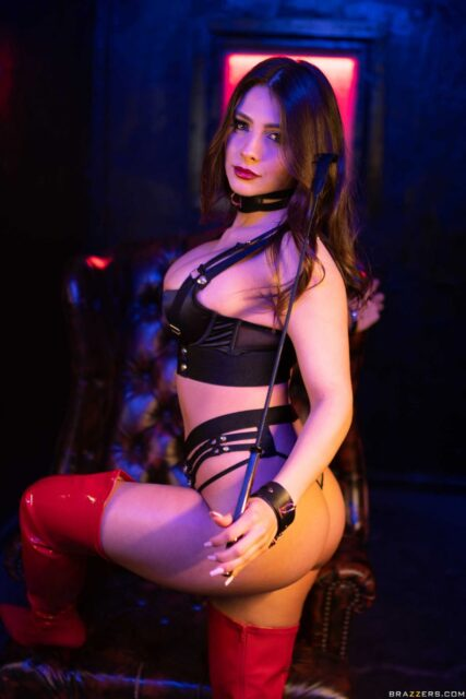 Tru Kait XXXBios - Hot busty brunette Hispanic Latina pornstar shows off her 32D big tits and big ass bubble butt booty in sexy black collar, black bra and panties lingerie with red leather latex PVC thigh high boots - Who Owns Whom Brazzers Tru Kait porn pics sfw