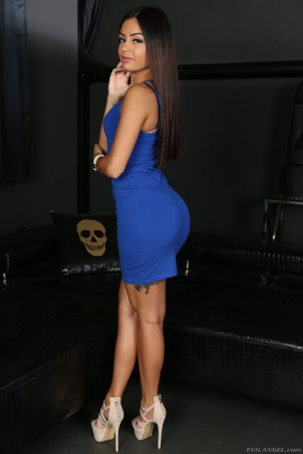 Martina Smeraldi XXXBios - Hot petite all natural brunette Italian pornstar Martina Smeraldi in sexy blue dress and high heels - Evil Angel Martina Smeraldi porn pics sfw