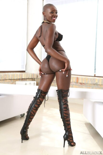 Zaawaadi XXXBios - Hot all natural Kenyan black pornstar Zaawaadi shows off her natural tits and big ass bubble butt booty in sexy black bra and panties with thigh high black boots high heels - Black Beauties 2 All Black X X Empire Zaawaadi porn pics sfw