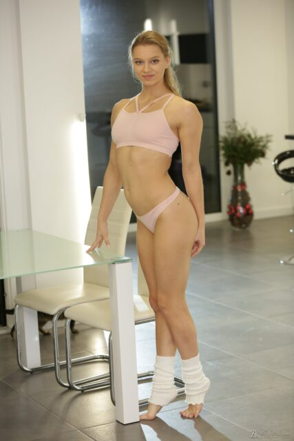 Mia Split XXXBios - Hot tall flexible brunette all natural pornstar Mia Split in sexy pink bra and panties with legwarmers and barefeet - 21Sextury 21Naturals Mia Split porn pics sfw