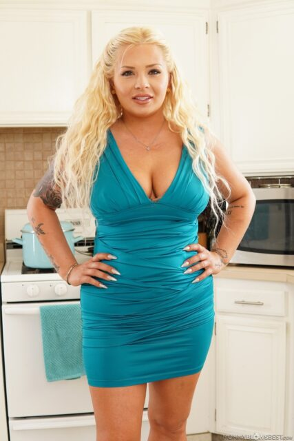 London Rose XXXBios - Hot all natural busty blonde MILF pornstar London Rose in sexy blue green dress and nude lacy lingerie - Down The Drain Mommy Blows Best London Rose porn pics sfw