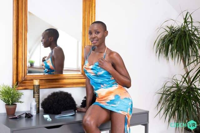 Zaawaadi XXXBios - Hot all natural Kenyan black pornstar Zaawaadi shows off her natural tits and big ass bubble butt booty in sexy blue and pink dress - Delicious Treat CzechVR Zaawaadi porn pics sfw - Zaawaadi VR porn scenes sfw pics