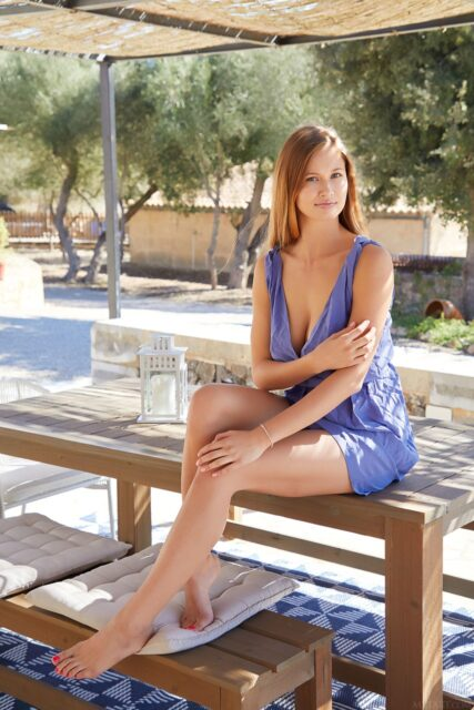Stella Cardo XXXBios - Hot tall blonde all natural Ukrainian pornstar Stella Cardo shows off her 32D big natural tits in sexy blue dress - MetArt Stella Cardo porn pics sfw