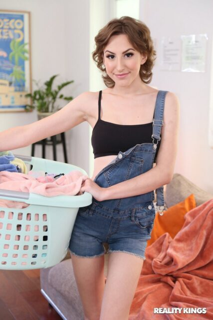 Tristan Summers XXXBios - Hot petite teen busty all natural brunette pornstar Tristan Summers shows off her 32C big natural tits and big ass bubble butt booty in sexy black bra and panties with denim dungarees romper suit and barefeet - Reality Kings Tristan Summers porn pics sfw