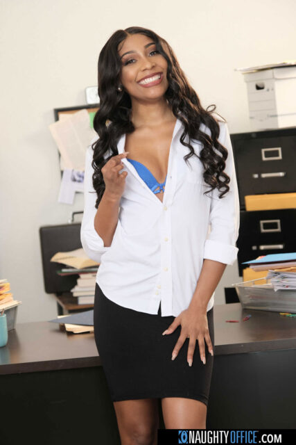 Olivia Jayy XXXBios - Hot curvy all natural black pornstar Olivia Jayy in sexy blue lacy lingerie, white shirt and black skirt - Naughty Office Naughty America Olivia Jayy porn pics sfw