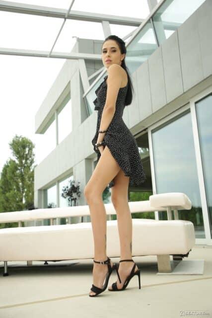 Alyssa Bounty XXXBios - Hot all natural petite Moldavian pornstar Alyssa Bounty in sexy black dress, black lingerie and black high heels - 21Sextury Alyssa Bounty porn pics sfw