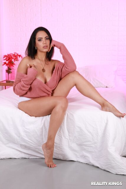 Katrina Moreno XXXBios - Hot busty brunette Latina Uruguayan pornstar Katrina Moreno shows off her big tits and big ass bubble butt booty in sexy peach sweater and white panties with barefeet - Sweater Seduction Reality Kings Katrina Moreno porn pics sfw