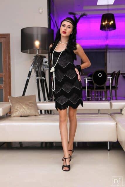 Alyssa Bounty XXXBios - Hot all natural petite Moldavian pornstar Alyssa Bounty in sexy black flapper dress, black feather headband and high heels - Nubile Films Alyssa Bounty porn pics sfw